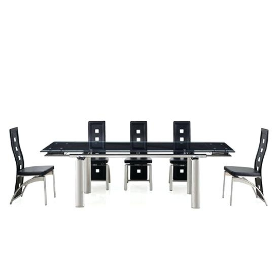 Glass Dining Table 8 Seater Dining Room Tables Black With Clear Inside Black 8 Seater Dining Tables (Image 17 of 25)