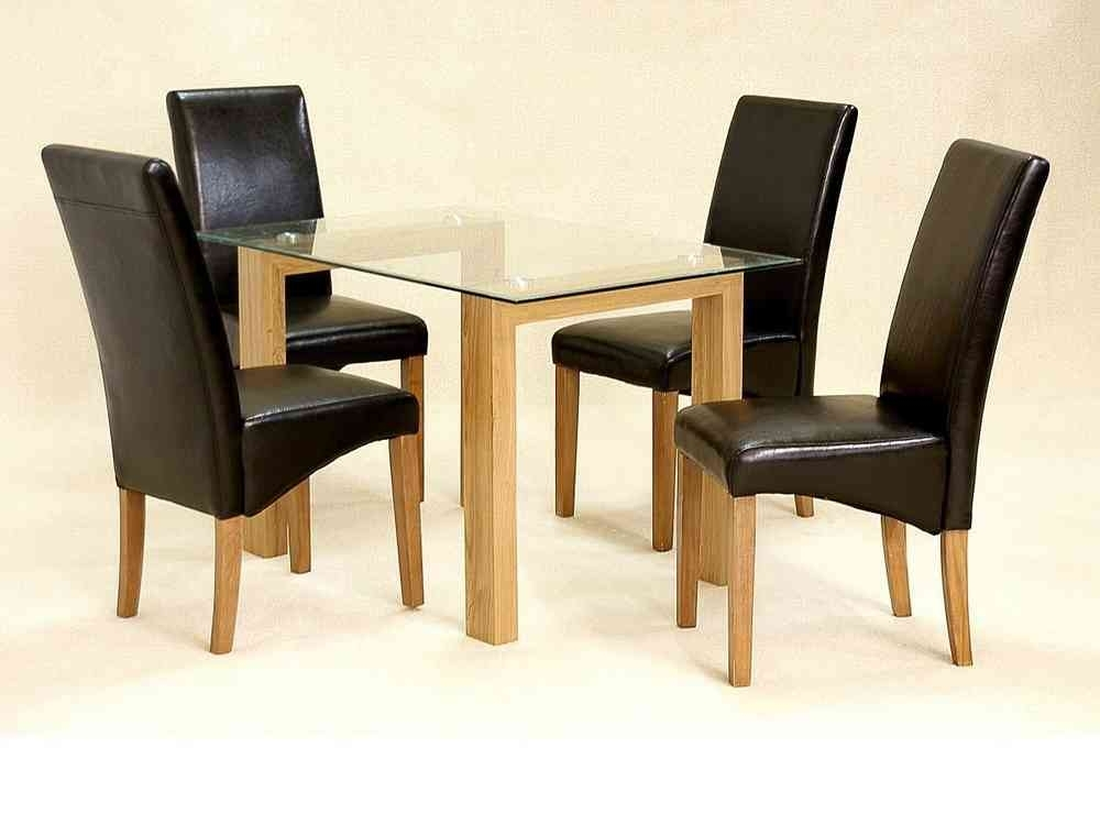 Glass Dining Table And 4 Chairs Clear Small Set Oak Wood Finish Intended For Oak Dining Tables And 4 Chairs (Image 15 of 25)