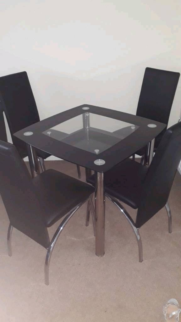 Glass Dining Table And 4 Chairs | In Perth, Perth And Kinross | Gumtree Regarding Perth Glass Dining Tables (Photo 13 of 25)