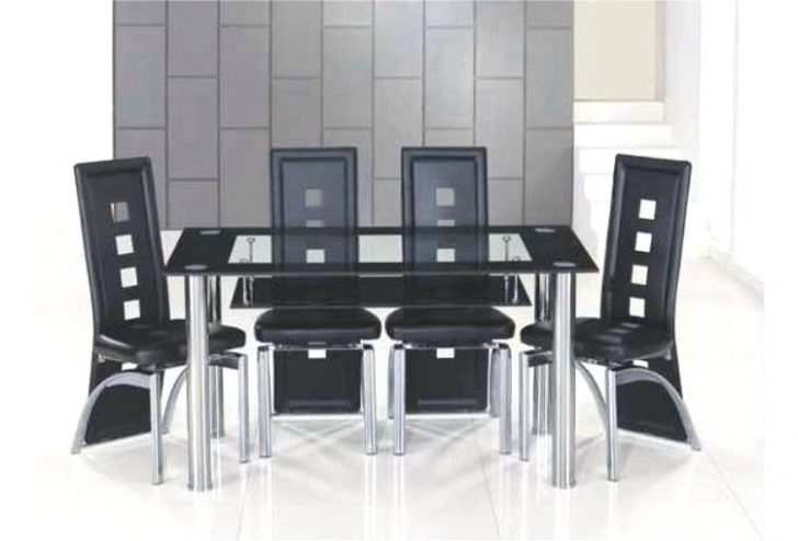 Glass Dining Table And 6 Chairs To 8 Extendable Top Throughout Sets Inside Black Glass Dining Tables And 6 Chairs (Image 19 of 25)