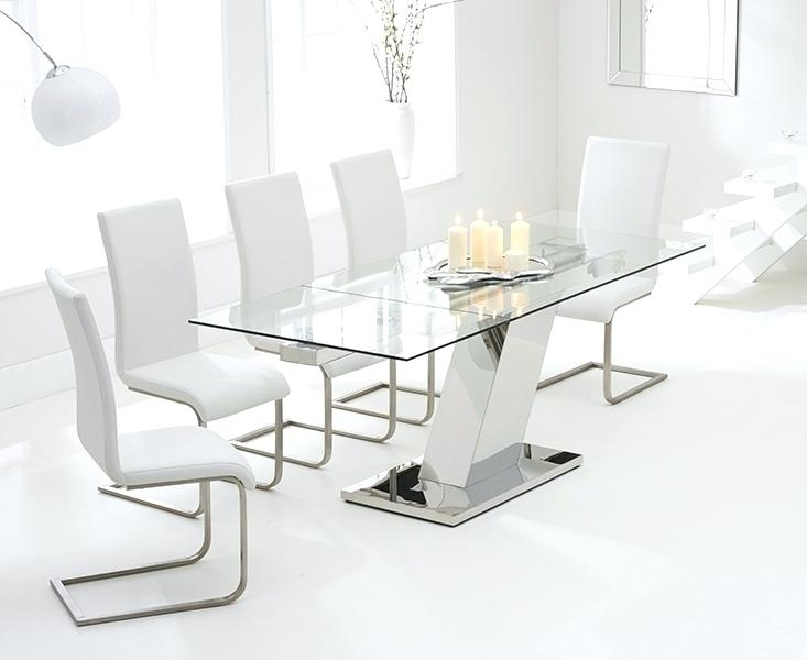 Glass Dining Table And 6 Chairs To 8 Extendable Top Throughout Sets Regarding Glass Dining Tables White Chairs (Image 13 of 25)