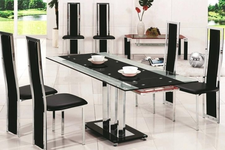 Glass Dining Table And 6 Chairs To 8 Extendable Top Throughout Sets With Regard To Black Glass Dining Tables 6 Chairs (Image 19 of 25)