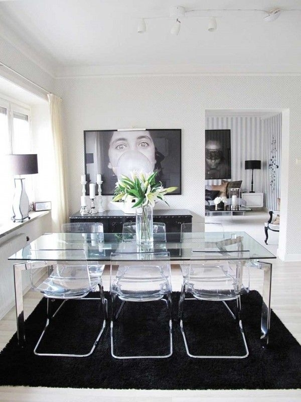Glass Dining Table And Acrylic Chairs With Black & White Design Throughout Weaver Dark 7 Piece Dining Sets With Alexa White Side Chairs (View 9 of 25)