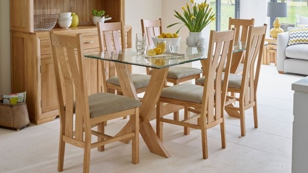 Glass Dining Table And Chairs | Glass Dining Table Sets | Oak with White Glass Dining Tables and Chairs