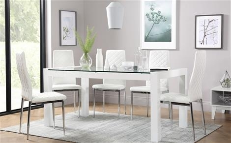 Glass Dining Table & Chairs – Glass Dining Sets | Furniture Choice Regarding Leon 7 Piece Dining Sets (View 14 of 25)