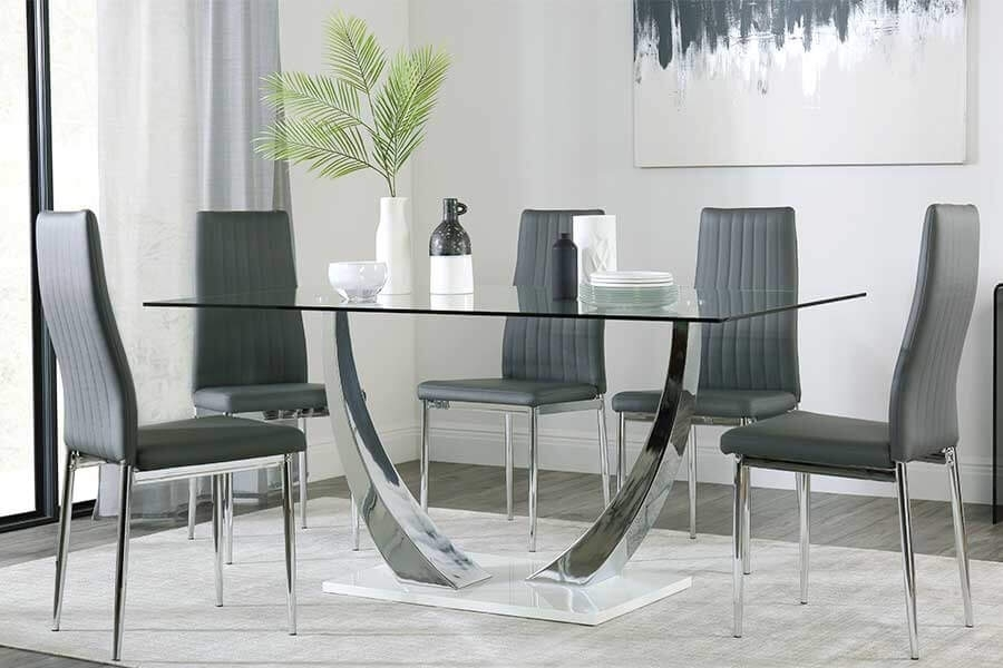 Glass Dining Table & Chairs – Glass Dining Sets | Furniture Choice With Dining Tables Grey Chairs (Image 8 of 25)