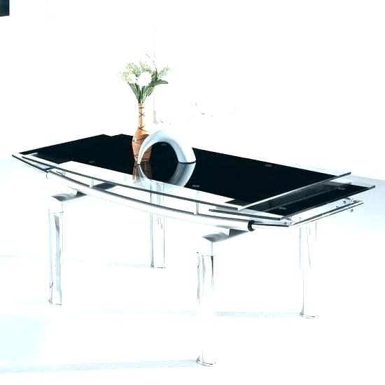 Glass Dining Table Extending Grey Frosted Glass Dining Table Within Extending Glass Dining Tables (Image 12 of 25)
