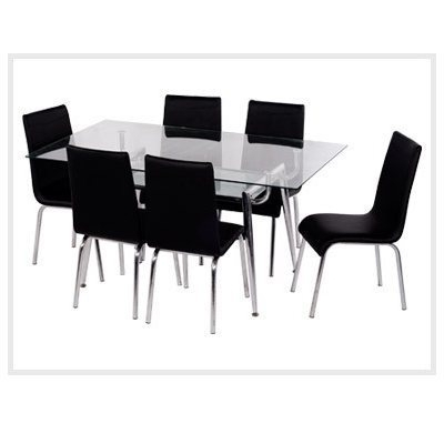 Glass Dining Table Set, Kitchen & Dining Furniture | Supreme Art With Black Glass Dining Tables (Image 13 of 25)