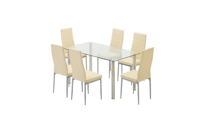 Glass Dining Table Set With Leather Chairs Kitchen Furniture Beige For Glass Dining Tables And Leather Chairs (View 14 of 25)