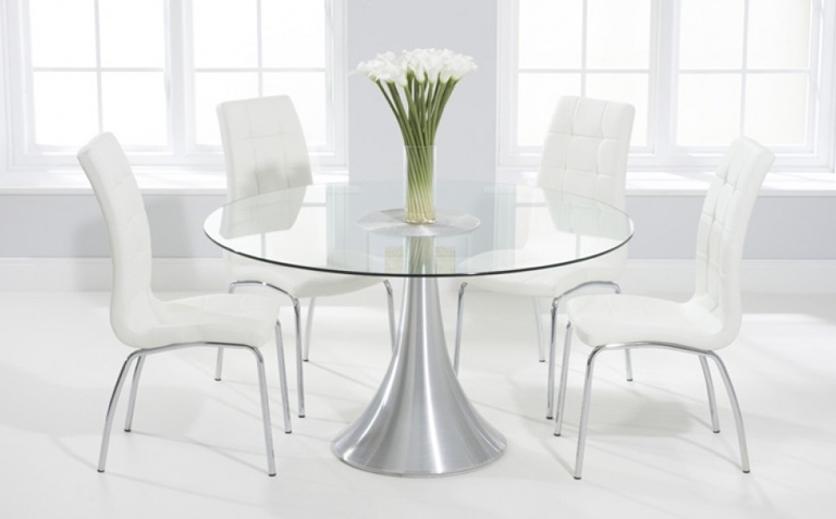Glass Dining Table Sets | Great Furniture Trading Company | The Intended For White Glass Dining Tables And Chairs (Image 20 of 25)