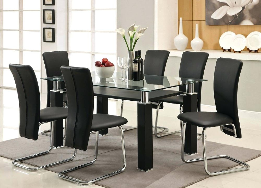 Glass Dining Table Sets How To Clean Furniture Black Round Top Set 6 Pertaining To 6 Seater Glass Dining Table Sets (Image 17 of 25)