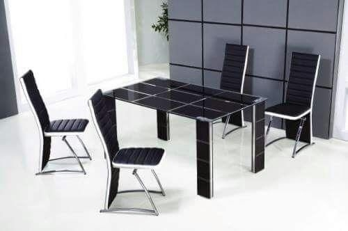 Glass Dining Table With 4 Chairs (120X70 Cm) Black | Souq – Uae With Cheap Glass Dining Tables And 4 Chairs (View 18 of 25)