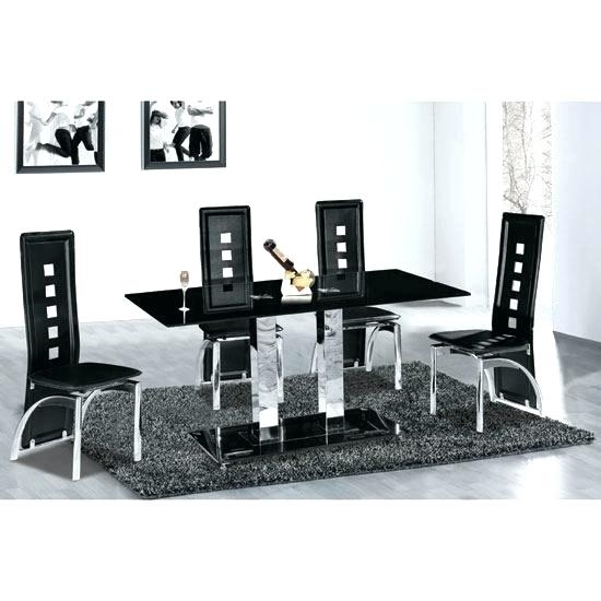 Glass Dining Table With 6 Chairs Glass Table With 6 Chairs Round In Black Glass Extending Dining Tables 6 Chairs (Image 13 of 25)