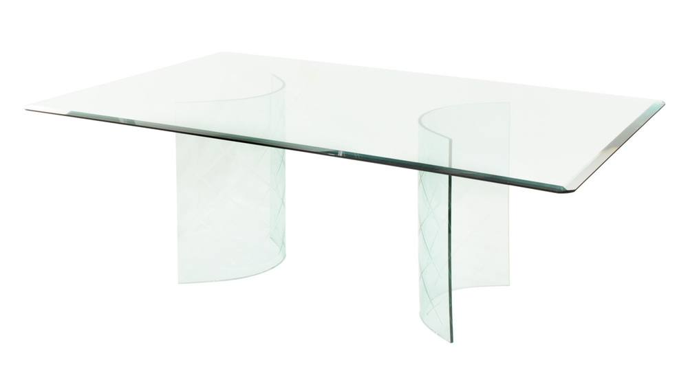 Glass Dining Table With Curved Etches Bases 1950S — Lobel Modern Nyc in Curved Glass Dining Tables