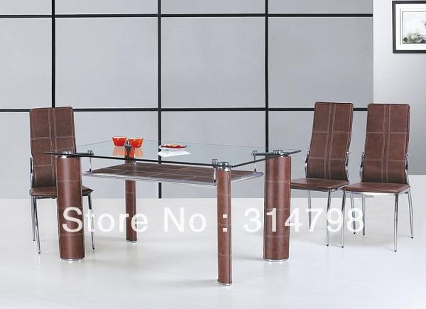 Glass Dining Table With Mdf Attached Hard Leather Legs, Dining Chair with regard to Glass Dining Tables and Leather Chairs