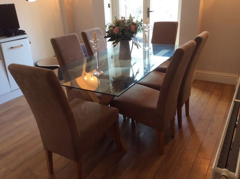 Glass Dining Table With Oak Legs And 6 Chairs | In Marple in Glass Dining Tables With Oak Legs