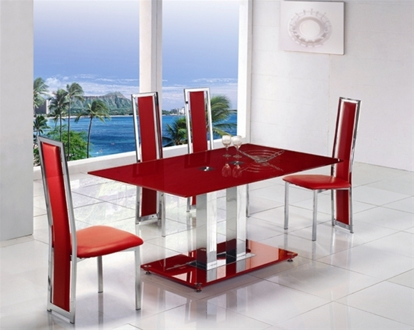 Glass Dining Table With Red Leather Chairs | Dining Chairs Design for Glass Dining Tables and Leather Chairs