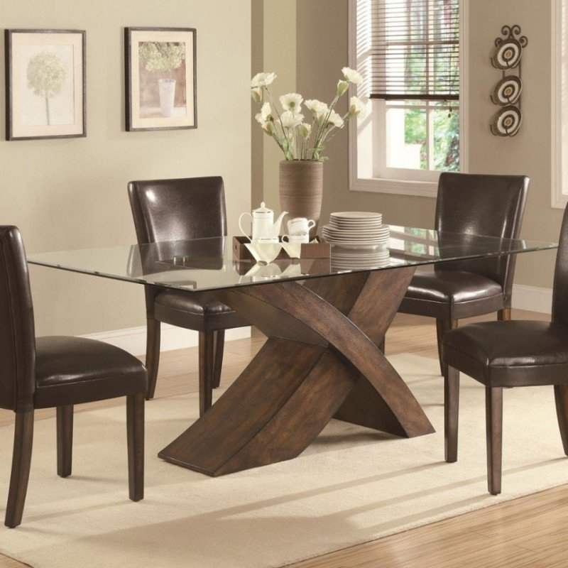 Glass Dining Table With Wood Base – Foter Pertaining To Glass Dining Tables With Wooden Legs (Image 12 of 25)