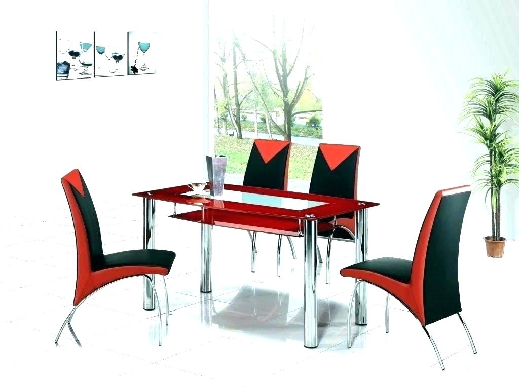 Glass Dining Tables And Chairs – Pinklemonblog Regarding Red Dining Tables And Chairs (Image 10 of 25)