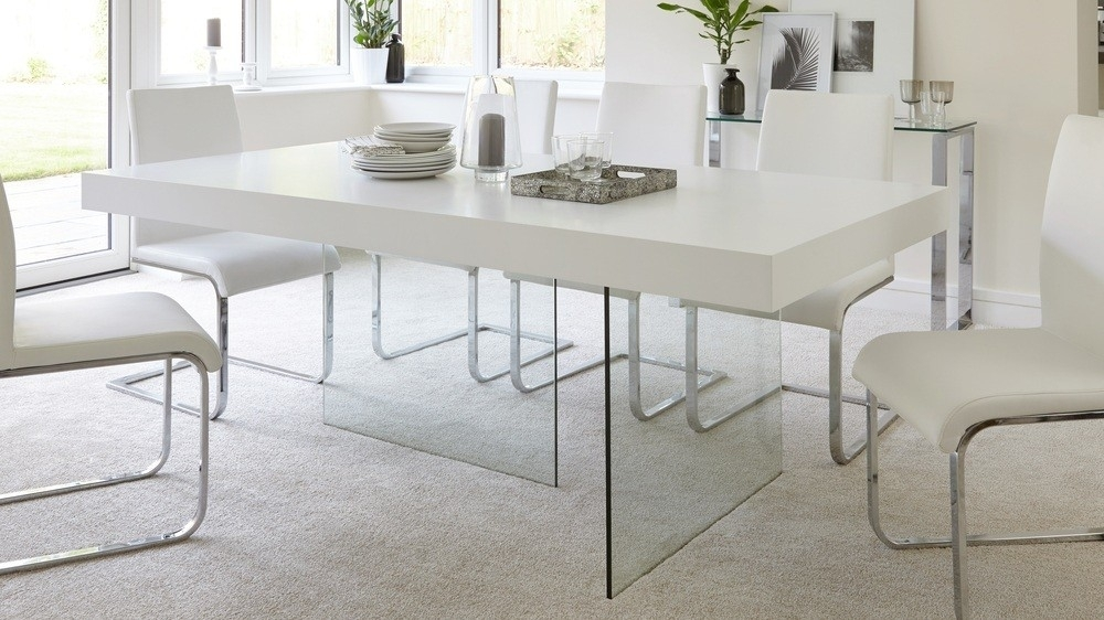 Glass Dining Tables - Soulpower intended for Glass Dining Tables With Oak Legs