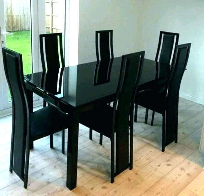 Glass Extendable Dining Table And 6 Chairs Set Imposing Black With Glass Extendable Dining Tables And 6 Chairs (Image 16 of 25)