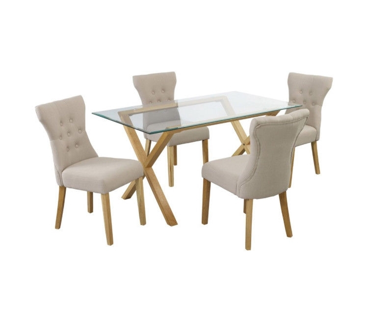 Glass & Oak Dining Table With 4 X Fabric Chairs | In Saffron Walden With Glass Oak Dining Tables (View 12 of 25)
