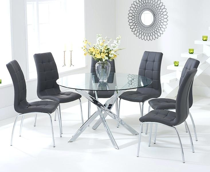 Glass Table For 6 Black Glass Table And 6 Chairs Ebay Round Glass intended for Black Glass Dining Tables and 6 Chairs