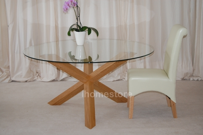 Glass Top Coffee Table With Silver Legs | Home Decorating Ideas 2016 In Round Glass Dining Tables With Oak Legs (Image 11 of 25)