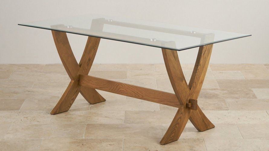 Glass Top Dining Tables | Oak Furniture Land | Glass Top Pedestal For Oak Glass Dining Tables (Image 16 of 25)
