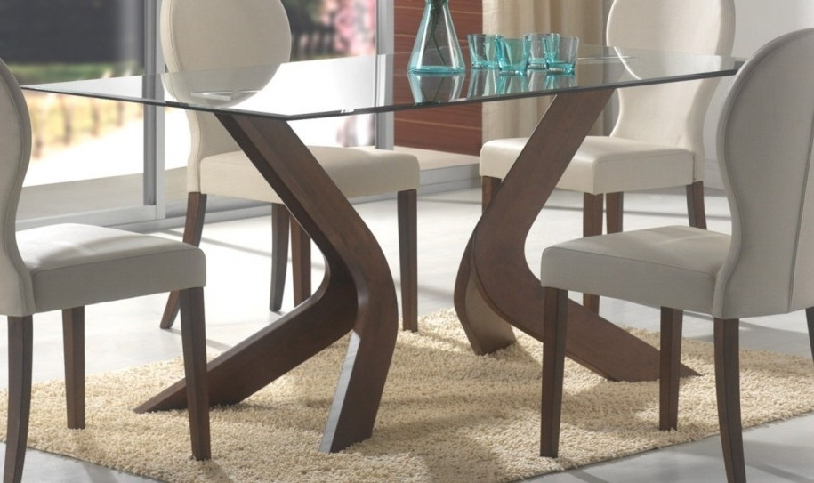 Glass Top Dining Tables With Wood Base Glass Dining Table With Wood For Glass Dining Tables With Wooden Legs (Image 14 of 25)