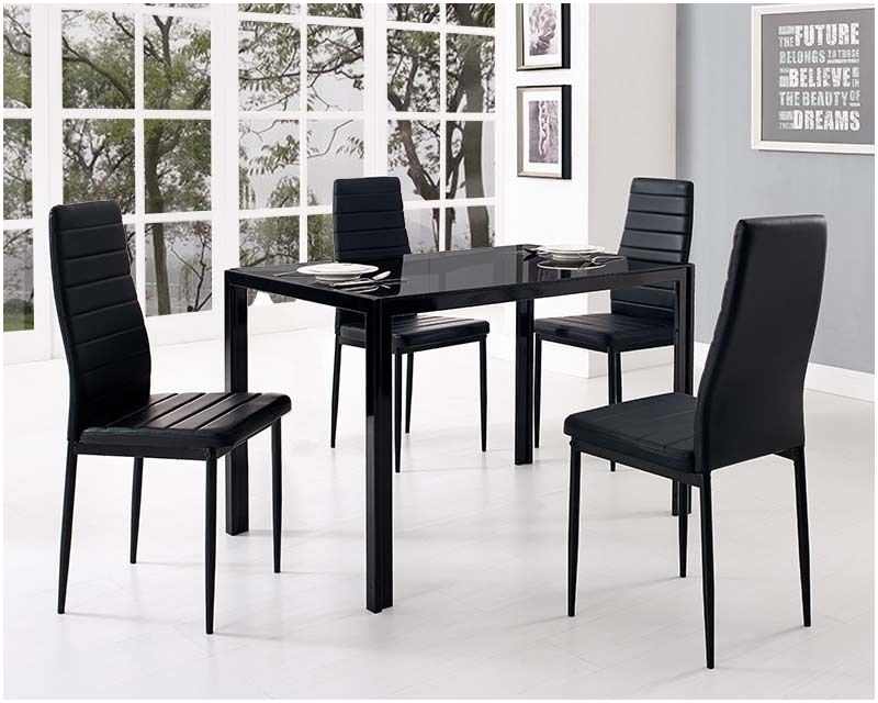 Glass Top Kitchen Table And Chairs Black Glass Dining Table And With within Glass Dining Tables and Leather Chairs