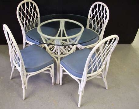 Glass Top Wicker Dining Table + 4 Chairs – Milwaukee, Wi With Wicker And Glass Dining Tables (Image 6 of 25)