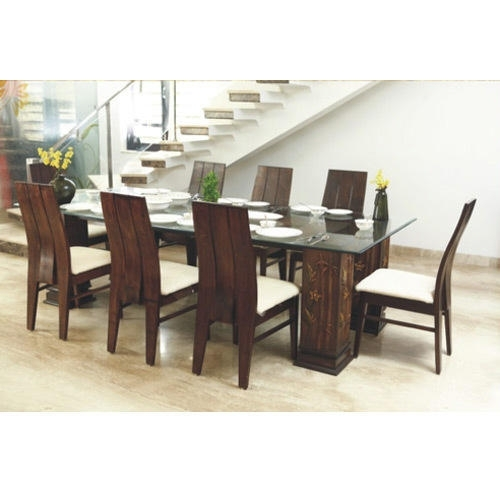 Glass Top Wooden Dining Table At Rs 60000 /set | Wooden Dining Table Intended For Dining Room Glass Tables Sets (Image 15 of 25)