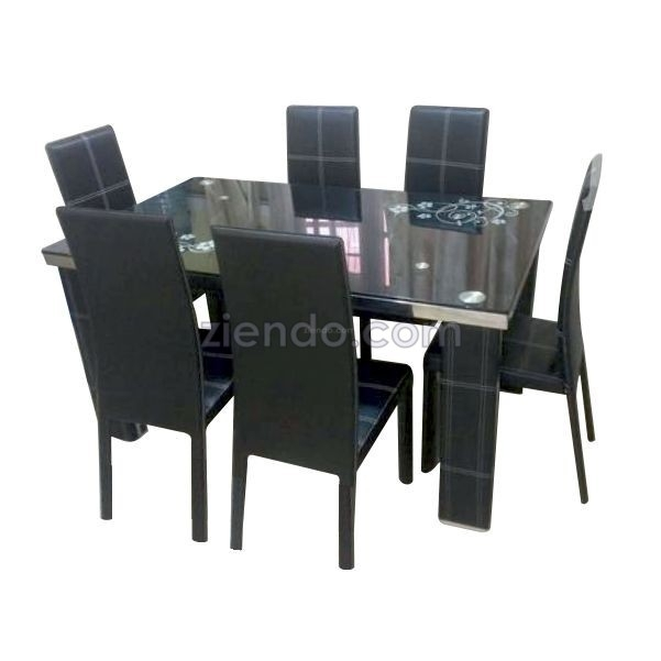 Glaze 6 Seater Glass Dining Table Set – Ziendo Online Furniture Within 6 Seater Glass Dining Table Sets (Image 20 of 25)