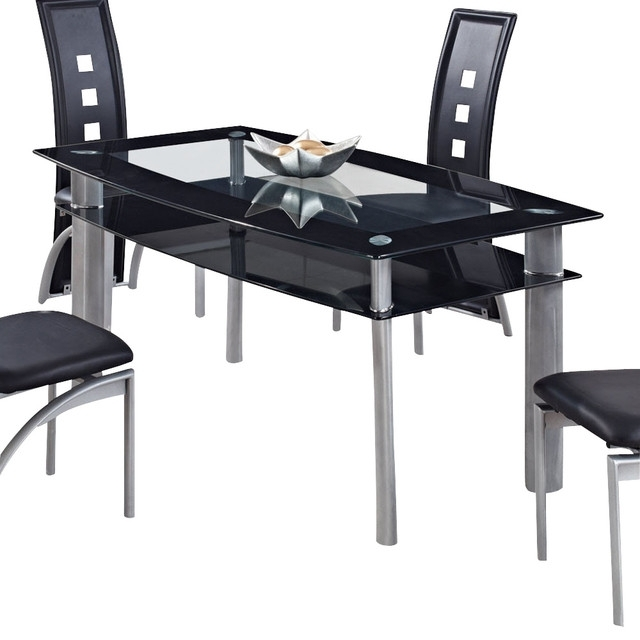 Global Furniture Usa 1058Dt Rectangular Black Glass Dining Table Within Dining Tables Black Glass (Image 16 of 25)