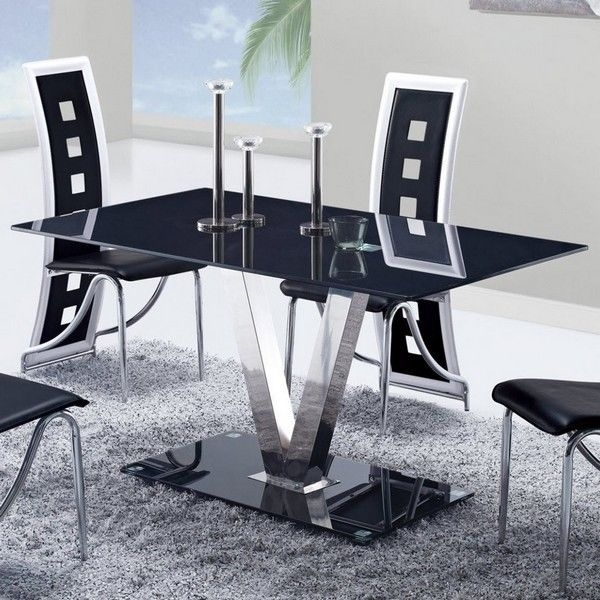 Global Furniture Usa 551Dt Black Glass Dining Table W/ Stainless Throughout Glass And Stainless Steel Dining Tables (Image 14 of 25)
