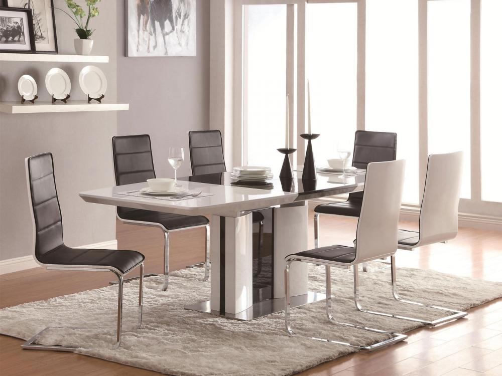 Gloria 5 Pieces Modern White Rectangular Dining Room Furniture Table Inside Shiny White Dining Tables (Image 12 of 25)