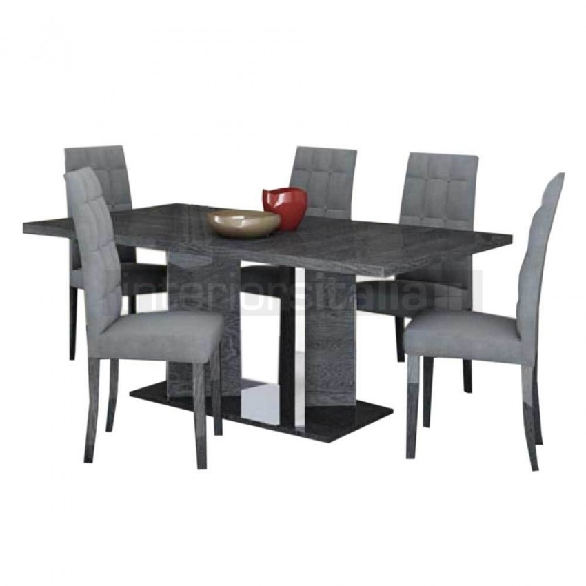 Gloss Dining Set | Extending | Sarah Grey Birch | Sale Inside Black Gloss Dining Sets (Image 13 of 25)