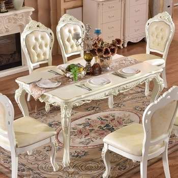 Gold Painted Hand Carving Baroque Royal Dining Table Set In White Inside Royal Dining Tables (Photo 16 of 25)