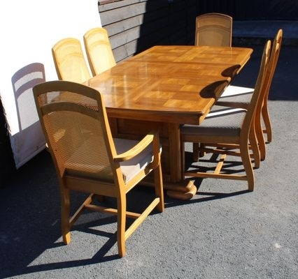 Golden Oak Parquet Extendable Table With 6 Dining Chairs, 1960S For In Parquet 6 Piece Dining Sets (Image 8 of 25)