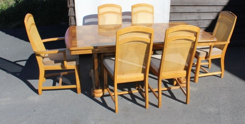 Golden Oak Parquet Extendable Table With 6 Dining Chairs, 1960S For In Parquet 6 Piece Dining Sets (Image 7 of 25)
