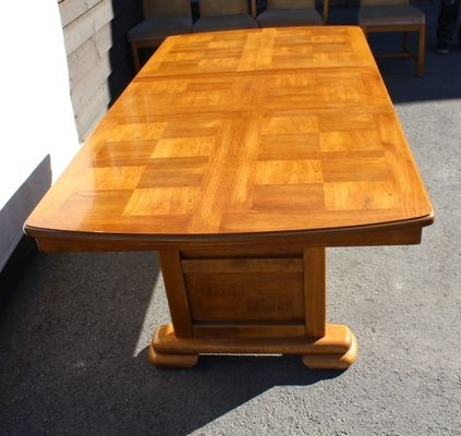 Golden Oak Parquet Extendable Table With 6 Dining Chairs, 1960S For Throughout Parquet 6 Piece Dining Sets (View 22 of 25)