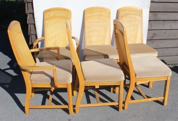Golden Oak Parquet Extendable Table With 6 Dining Chairs, 1960S For With Parquet 6 Piece Dining Sets (View 7 of 25)