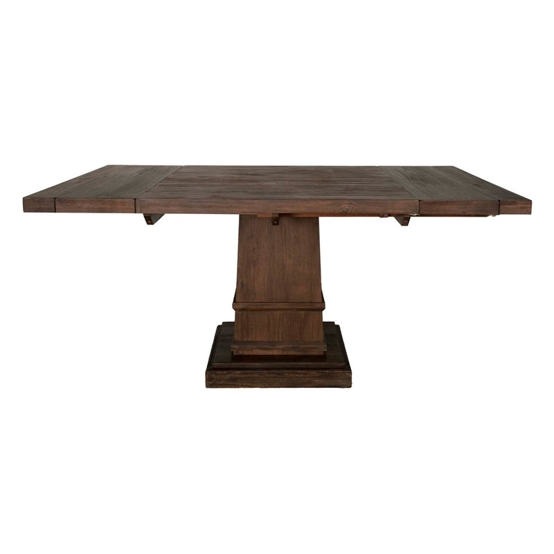 Gracie Oaks Amos Modish Wooden Square Extendable Dining Table | Wayfair for Square Extendable Dining Tables