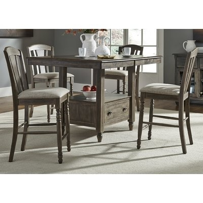 """Gracie Oaks Citronelle Slat Back 19"""" Bar Stool With Cushion (Set Of With Regard To Combs 5 Piece 48 Inch Extension Dining Sets With Mindy Side Chairs (Image 12 of 25)"""