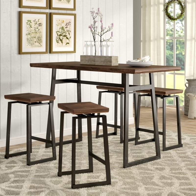 Gracie Oaks Platane Industrial 5 Piece Counter Height Dining Set With Jaxon 5 Piece Extension Counter Sets With Fabric Stools (Image 11 of 25)