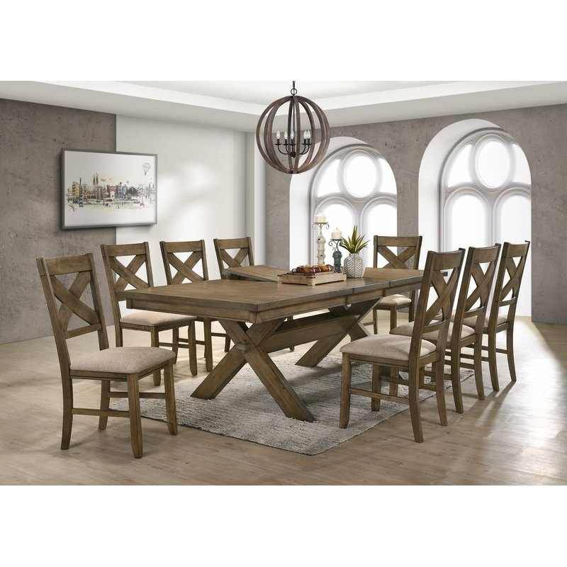 Gracie Oaks Poe 9 Piece Extendable Dining Set & Reviews | Wayfair Intended For Chandler 7 Piece Extension Dining Sets With Fabric Side Chairs (Image 8 of 25)