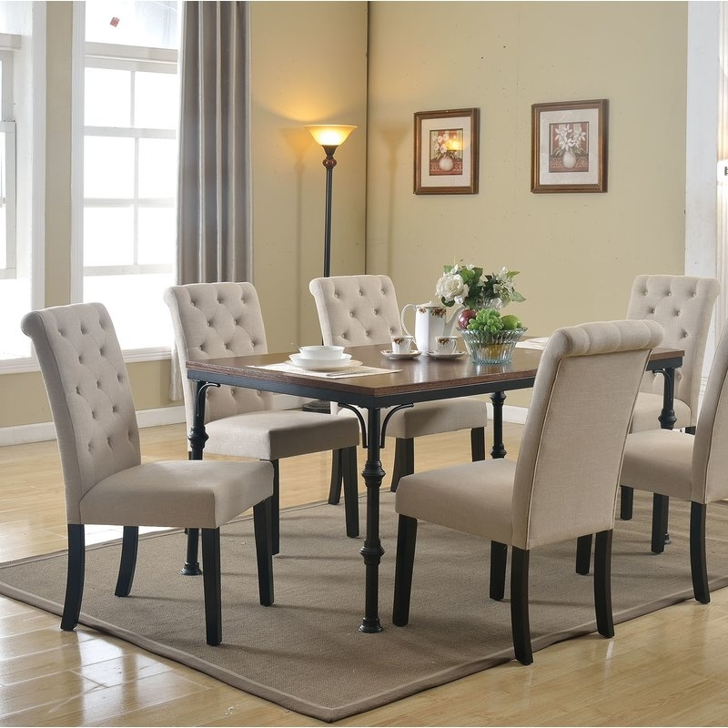 Gracie Oaks Tyerell 7 Piece Dining Set | Wayfair regarding Caira Black 7 Piece Dining Sets With Upholstered Side Chairs
