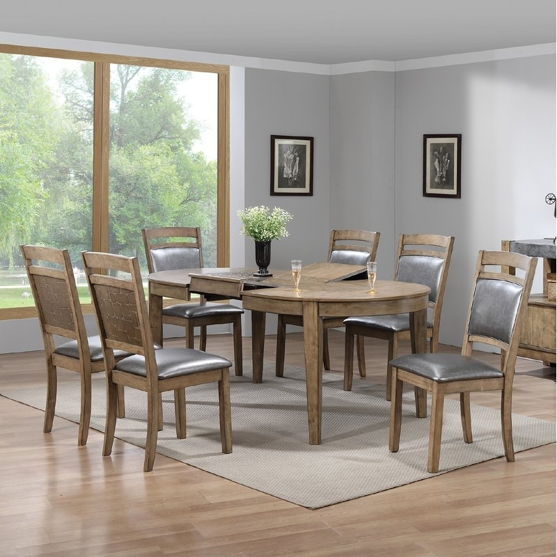 Gracie Oaks Warthen 7 Piece Dining Set | Wayfair in Caira 7 Piece Rectangular Dining Sets With Upholstered Side Chairs