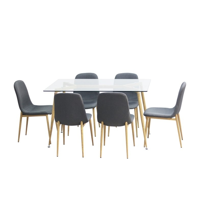 Gramercy Park Modern Glass 7 Piece Dining Set & Reviews | Allmodern Throughout Kirsten 6 Piece Dining Sets (View 16 of 25)